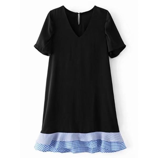 Contrast Layered Ruffle Hem Dress