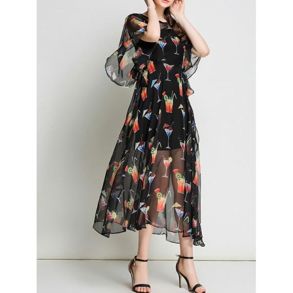 Bell Sleeve Sheer Cocktail Print Dress