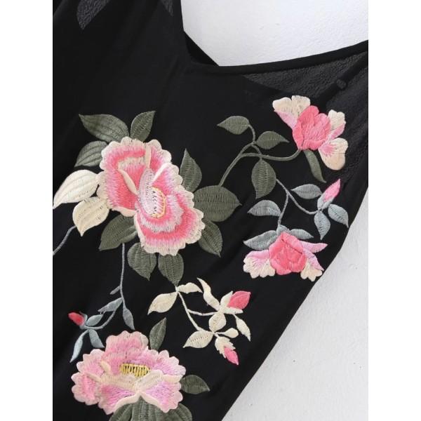 Cami Straps Fringe Hem Embroidery Asymmetrical Dress