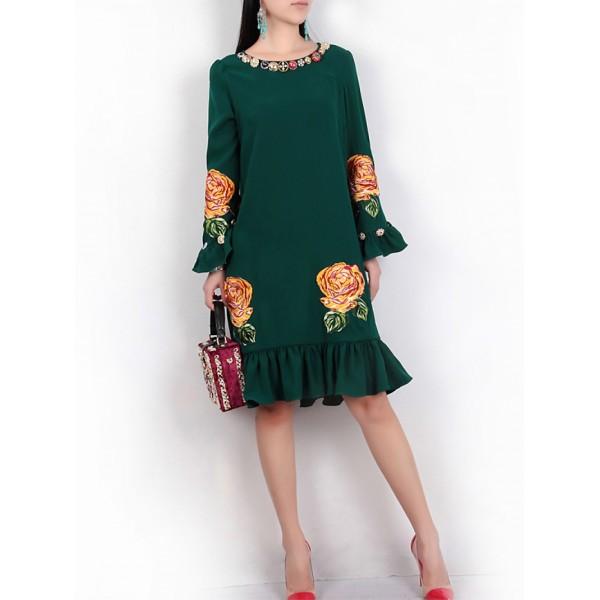 Bell Sleeve Flowers Print Ruffle Dress