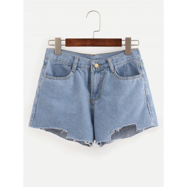 Blue Fringe Denim Shorts