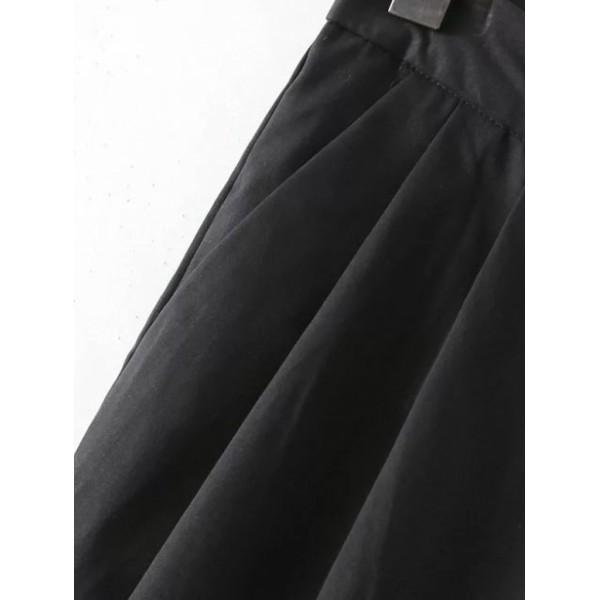 Black Pockets Zipper Side Skinny Pants