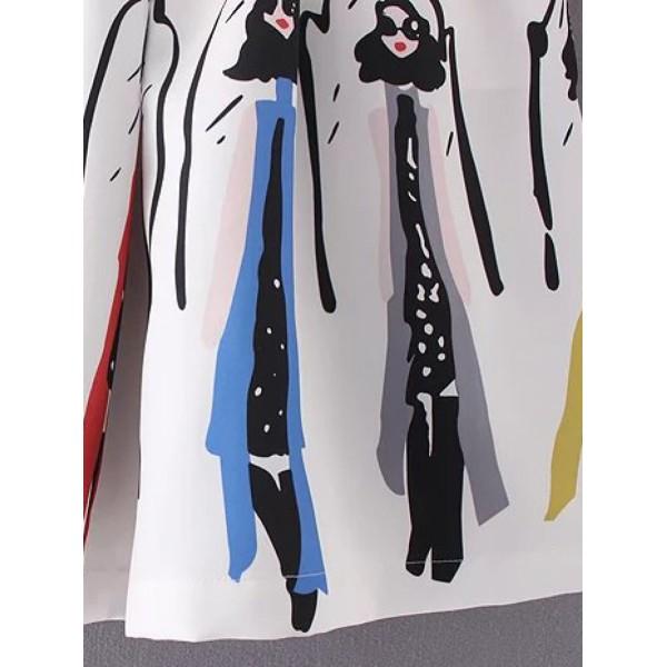 White Printed Zipper Pleated Skirt