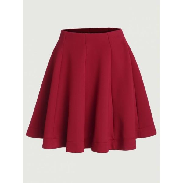 Red Vertical Panel Flare Skirt