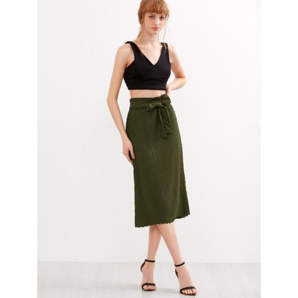Army Green Belt Pleated Skirt