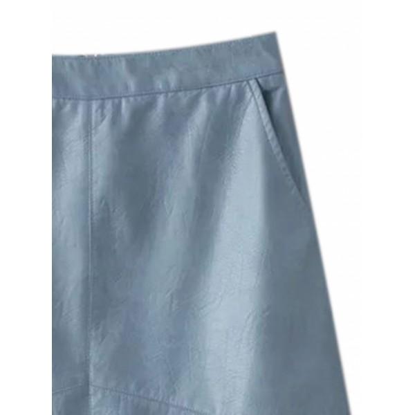 Blue High Waist Leather Look A-line Skirt