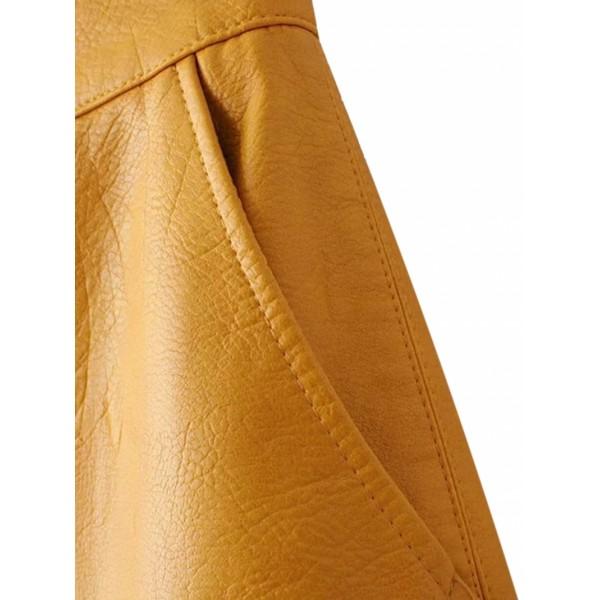 Yellow High Waist Leather Look A-line Skirt