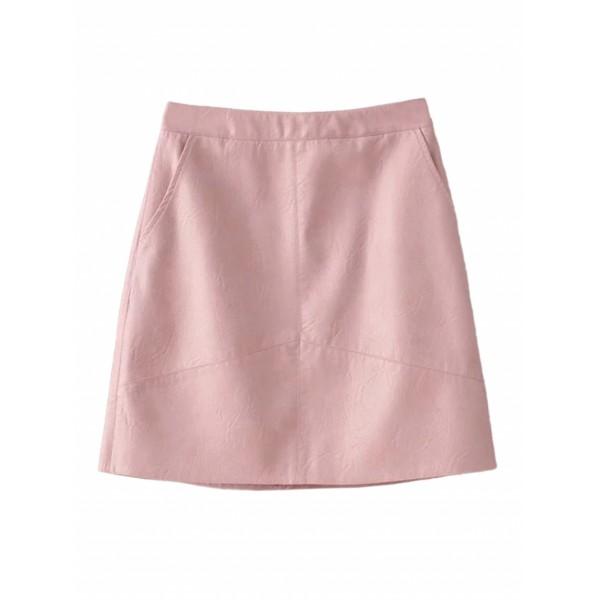 Pink High Waist Leather Look A-line Skirt