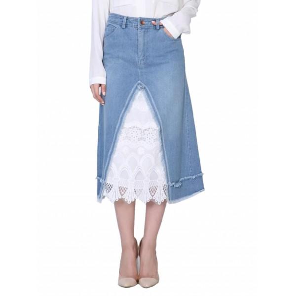 Blue High Waist Lace Contrast Denim A-line Skirt