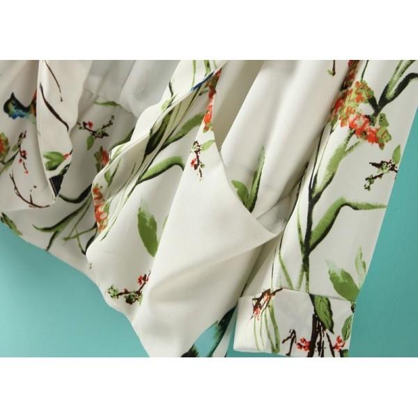 White Long Sleeve Birds Print Pockets Blazer