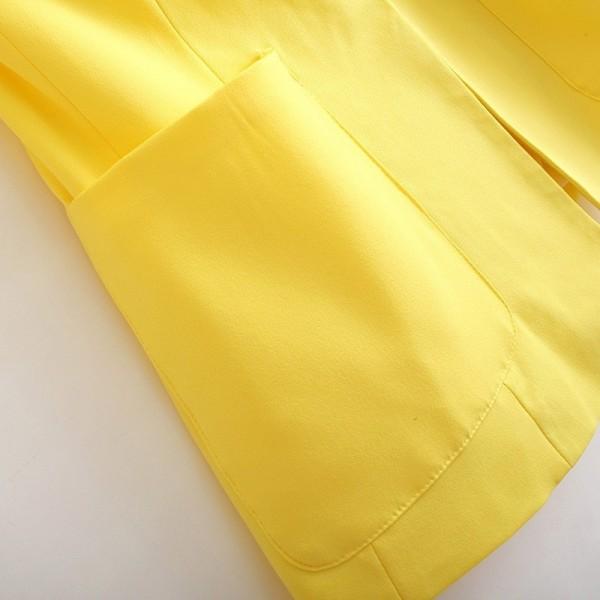 Yellow Notch Lapel Long Sleeve Pockets Blazer