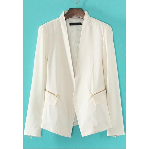 White V Neck Long Sleeve Zipper Pockets Blazer