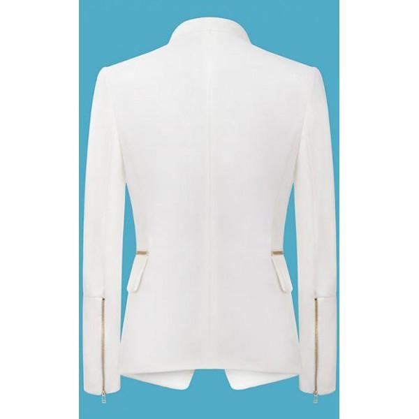 White Long Sleeve Zipper Fitted Blazer