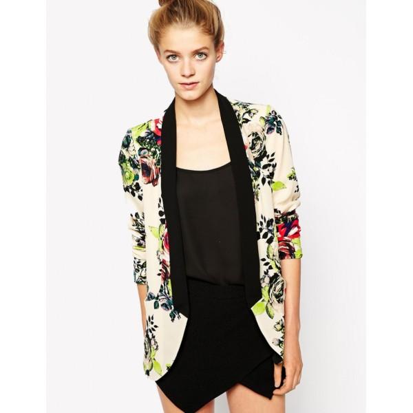 Apricot Contrast Shawl Collar Florals Print Blazer
