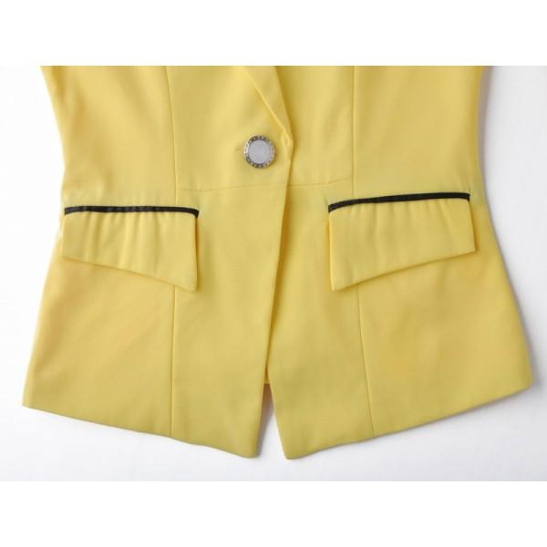 Yellow Notch Lapel Fitted Puff Sleeve Blazer