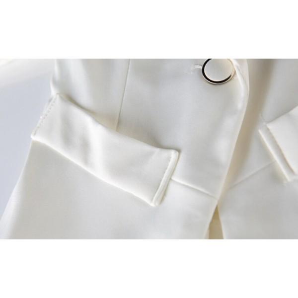 White Notch Lapel Half Sleeve Lace Blazer