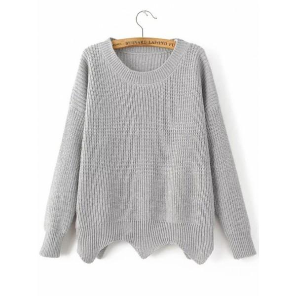 Grey Drop Shoulder Asymmetrical Sweater