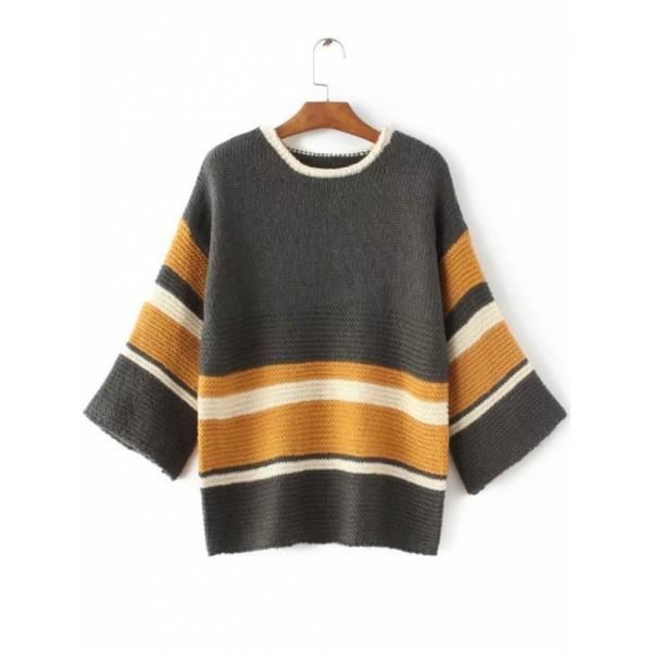 Striped Color Block Loose Sweater