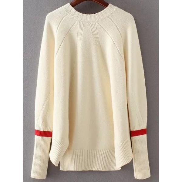 White Contrast Cuff Raglan Sleeve Asymmetrical Sweater