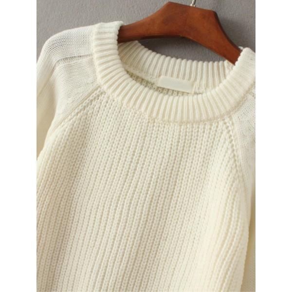 White Lace Up Detail Raglan Sleeve Sweater