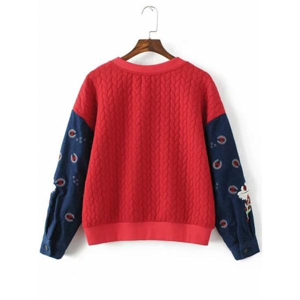 Red Embroidery Contrast Denim Sleeve Drop Shoulder Sweatshirt