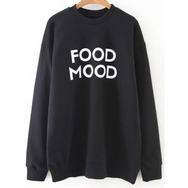 Black Letter Print Crew Neck Sweatshirt