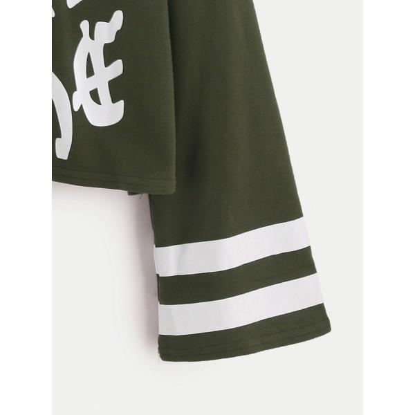 Army Green Varsity Print Drop Shoulder Sweatshirt