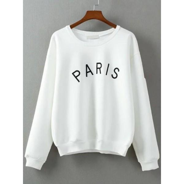 White Letter Embroidery Long Sleeve Sweatshirt